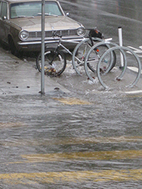 A San Francisco crosswalk and stormdrain during a November 2014 storm. Photo: Ariel Okamoto.