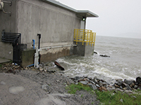 King tides at the furthest land accessible point on EBMUD's Bay outfall, a structure not usually surrounded by water. Photo courtesy EBMUD.