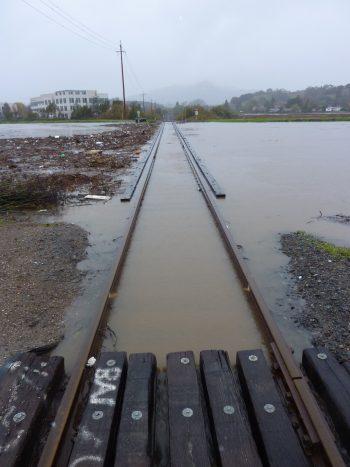 Railway flooded in Novato