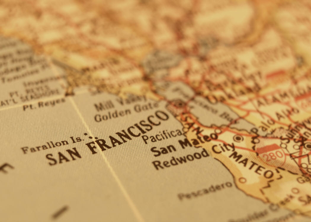 Artistic picture of a map of the san francisco coast line including marin and san mateo