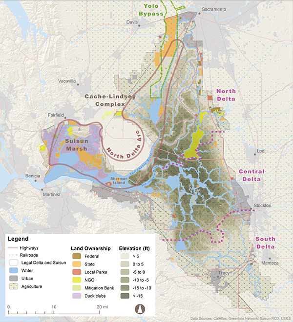 "The North Delta Arc. Fish friendly,"" in terms of the 8,000-acre restoration target, means intertidal and associated subtidal habitat. DWR defines subtidal as ""permanently flooded shallow-water habitat lower than intertidal."" The Delta Plan refers to ""habitat for resident and rearing migratory fish"". Map by Amber Manfree."