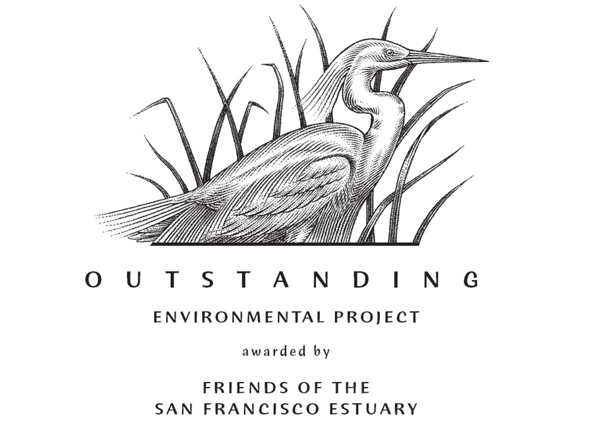 Illustration of outstanding environmental award from Friends of the Estuary with egret drawing