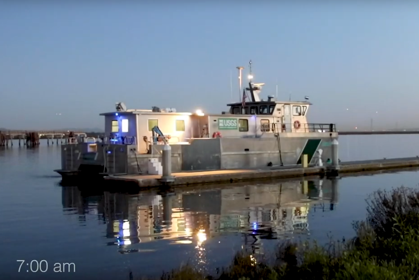 USGS research vessel in the morning