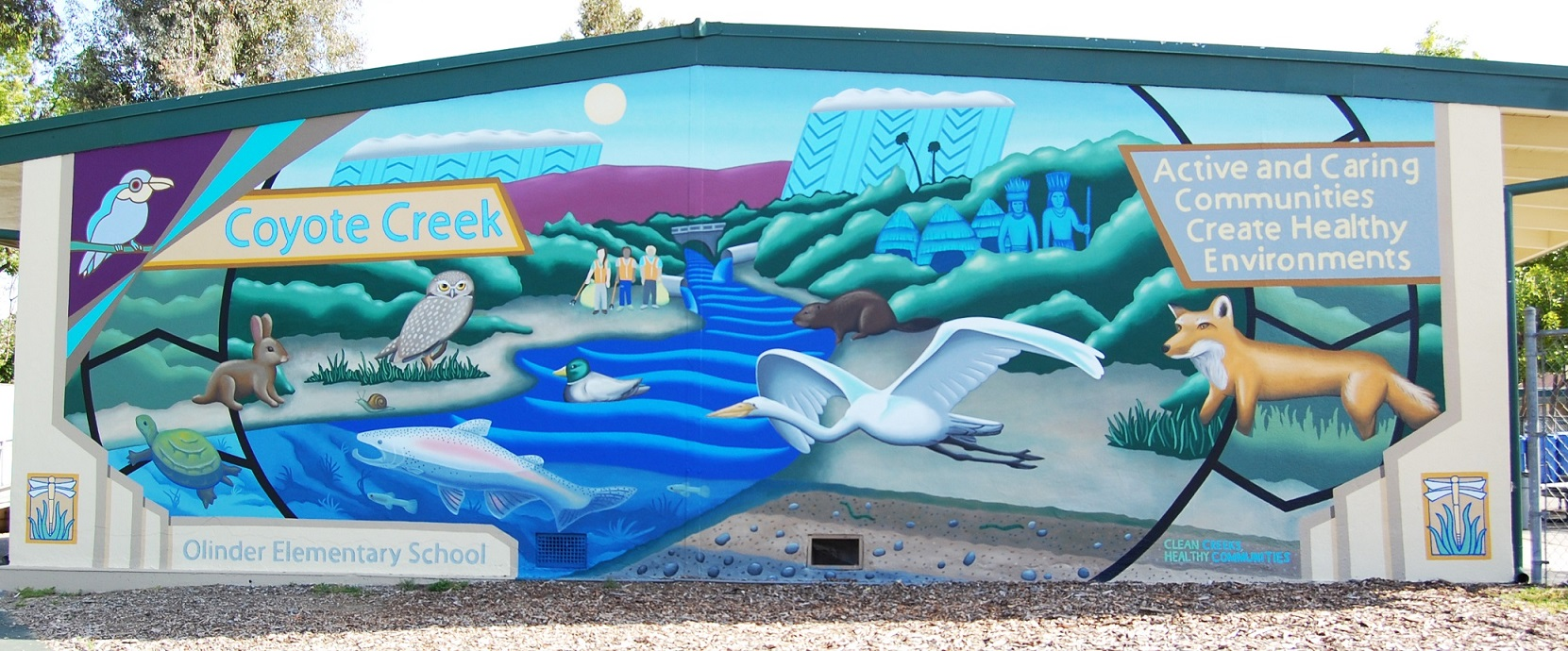 """Colorful mural on side of building depicts Coyote Creek and wildlife with statement """"Active and Caring Communities Create Healthy Environments."""""""