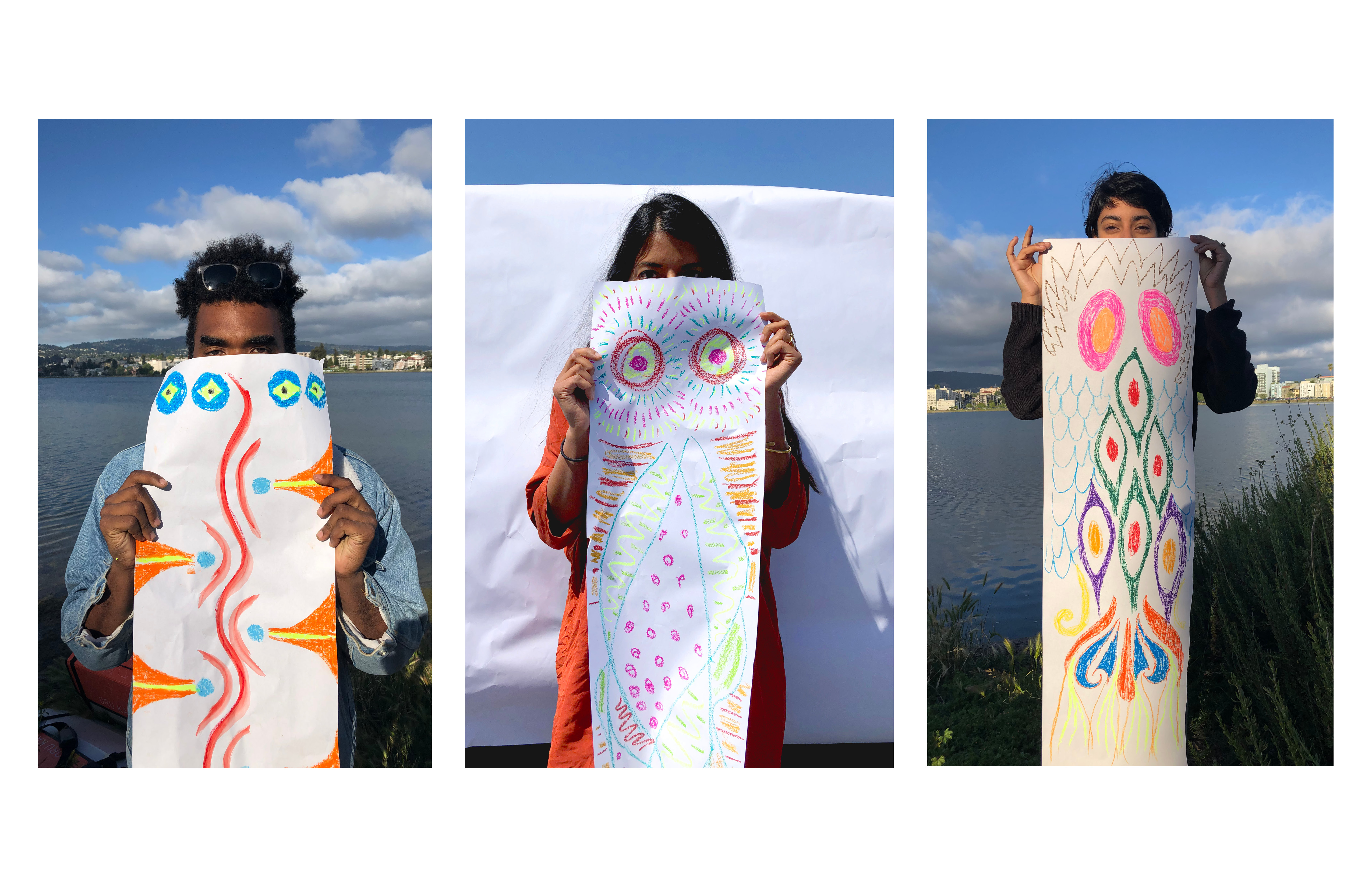 3 images of children holding long white papers illustrated with fish drawings