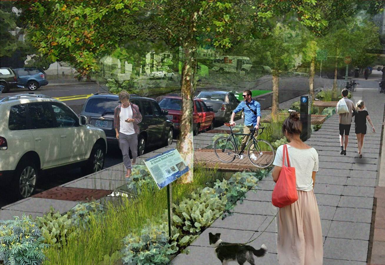rendering of project with trees, swale, people walking